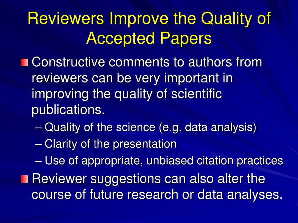 Reviewers Improve the Quality of Accepted Papers