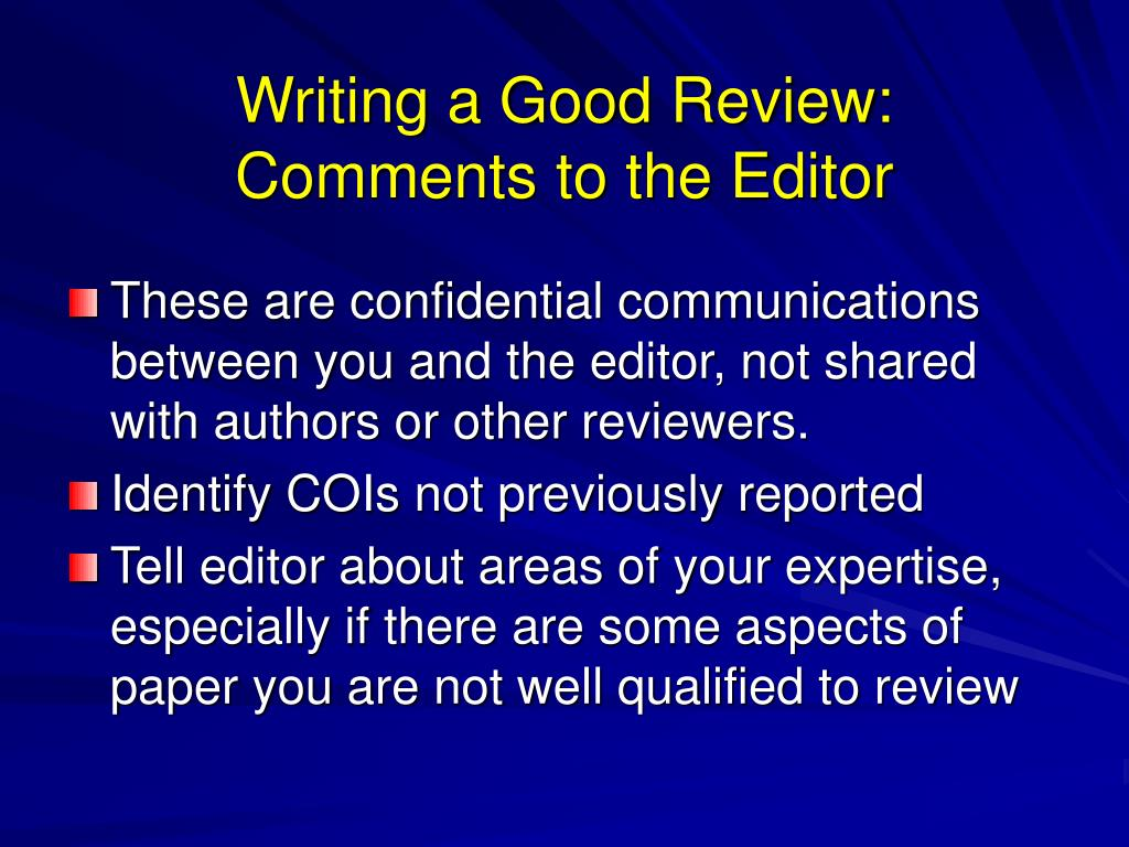 Writing a Good Review: