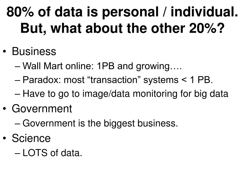 80% of data is personal / individual.