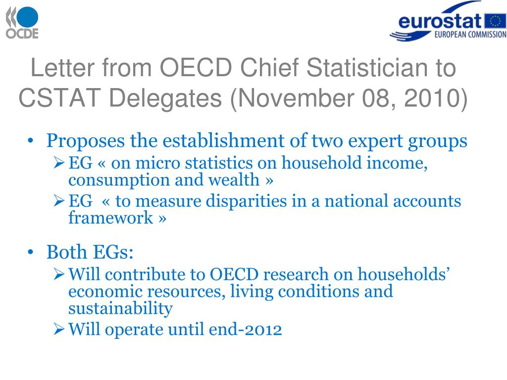 Letter from OECD Chief Statistician to CSTAT Delegates (November 08, 2010)