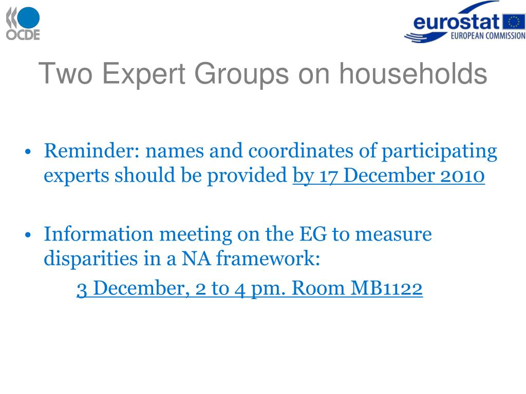 Two Expert Groups on households