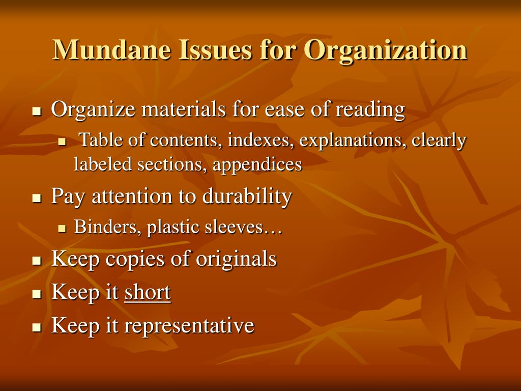 Mundane Issues for Organization