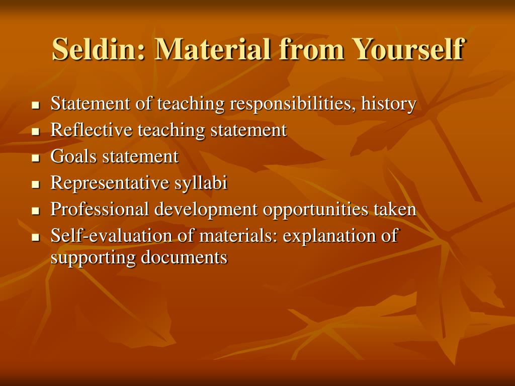 Seldin: Material from Yourself