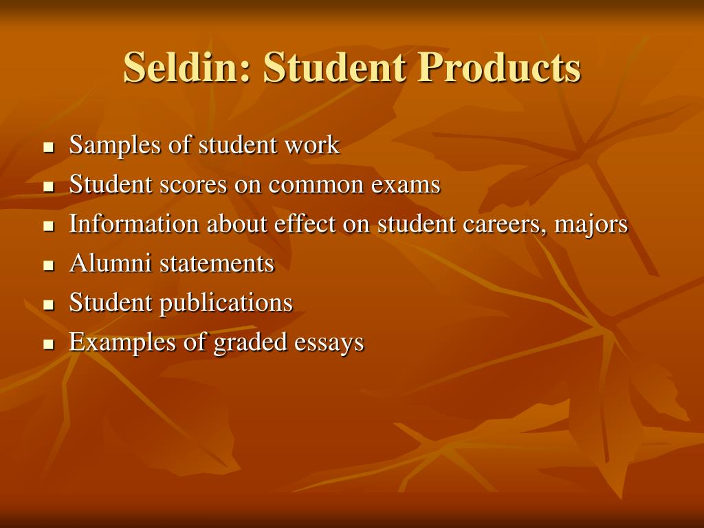 Seldin: Student Products