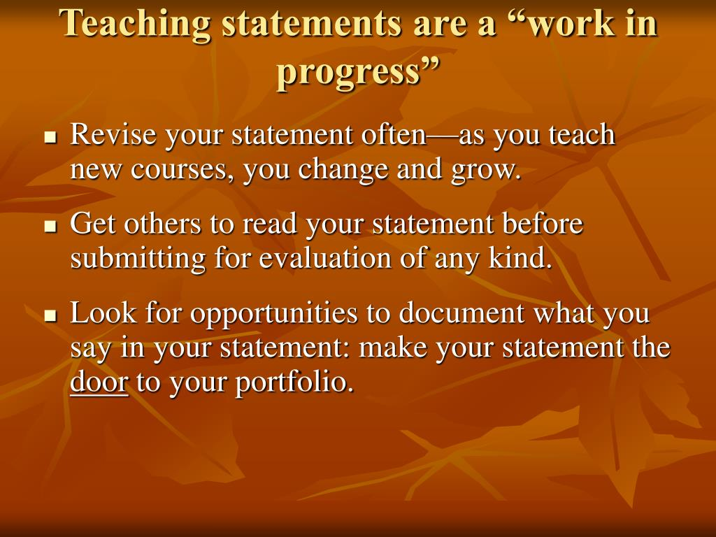 "Teaching statements are a ""work in progress"""