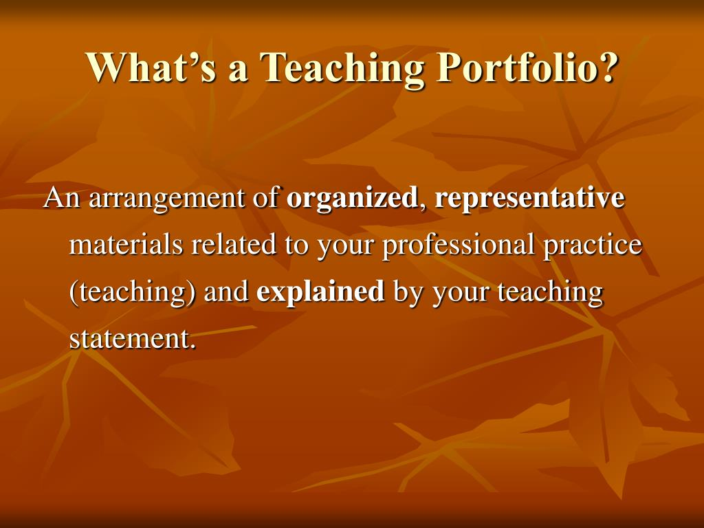 What's a Teaching Portfolio?