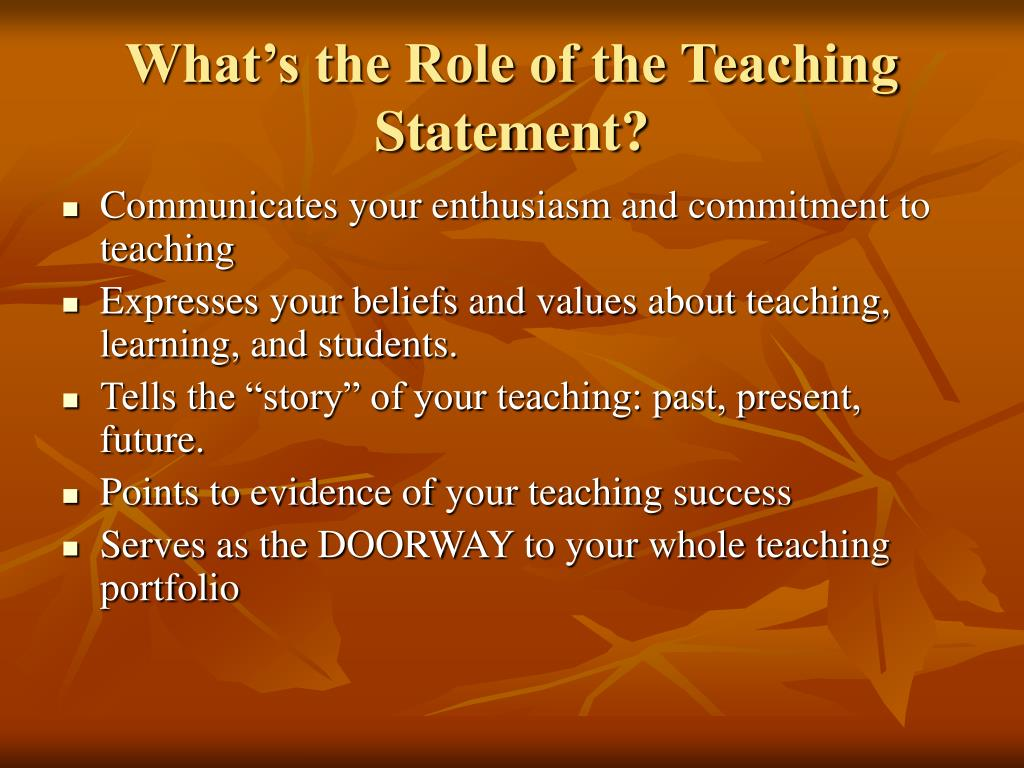 What's the Role of the Teaching Statement?