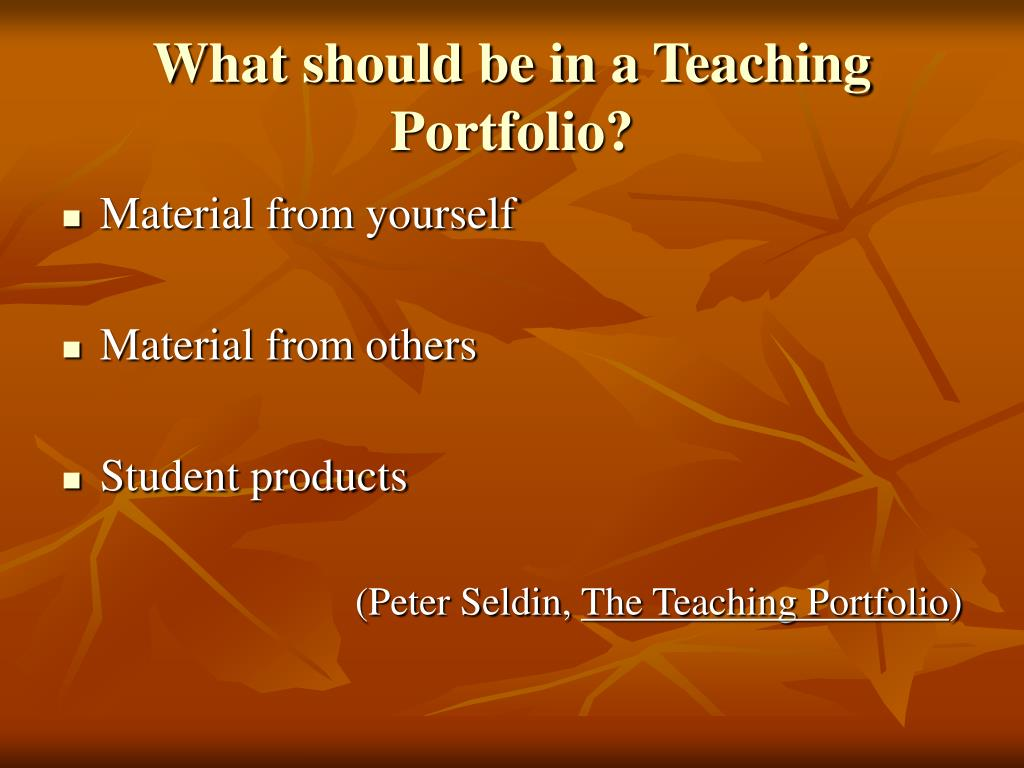 What should be in a Teaching Portfolio?