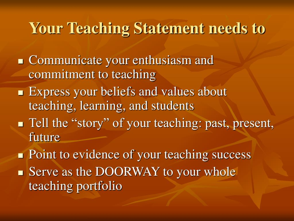 Your Teaching Statement needs to