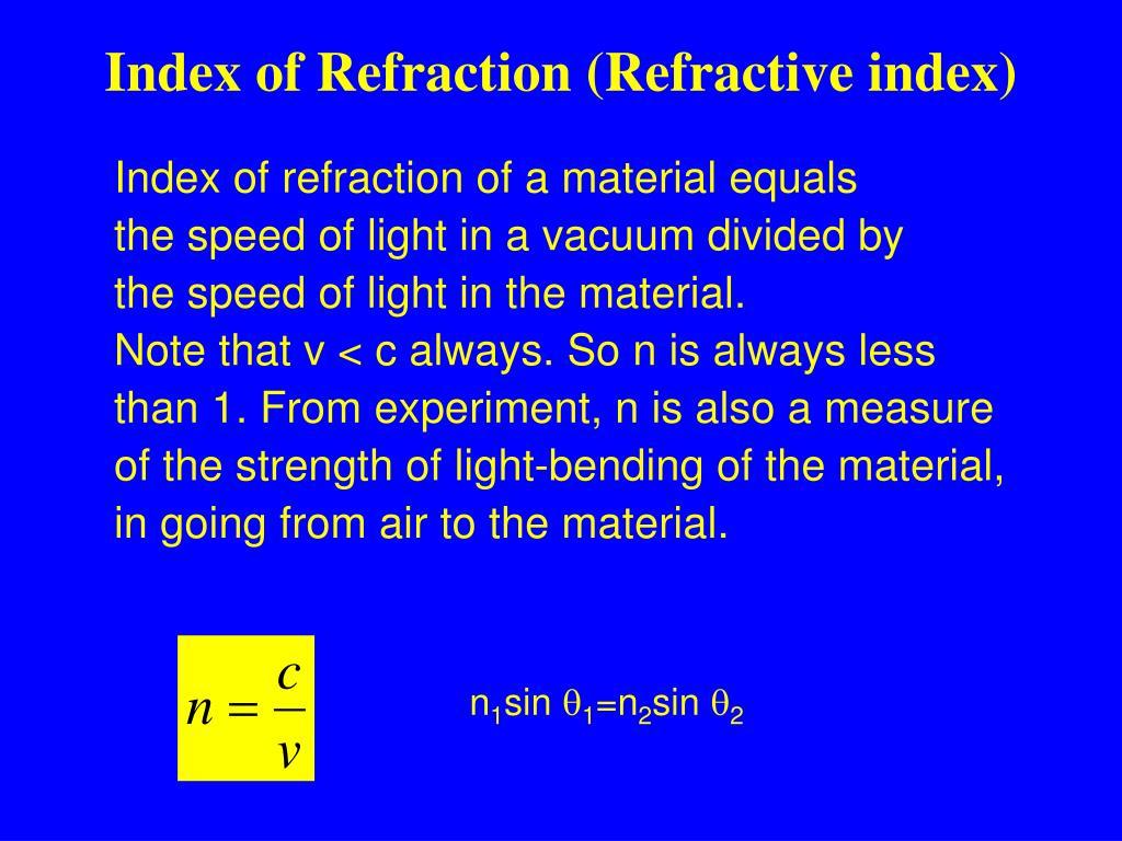 Index of Refraction (Refractive index)