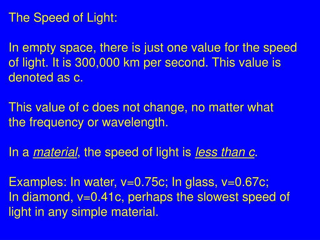 The Speed of Light: