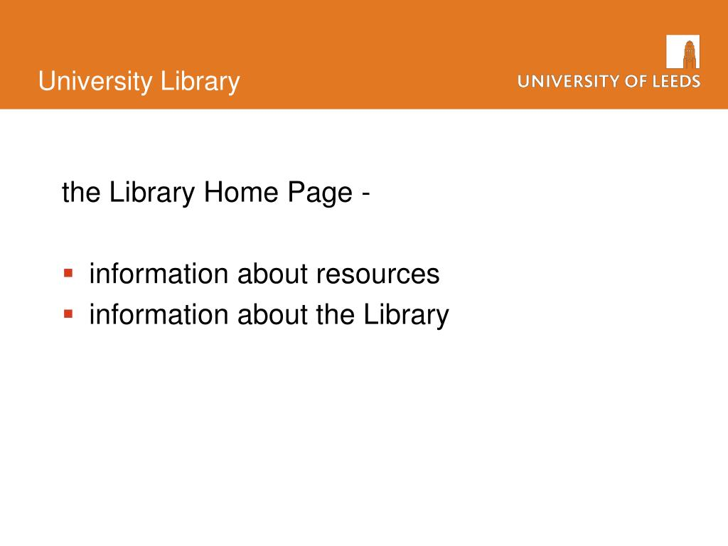 the Library Home Page -