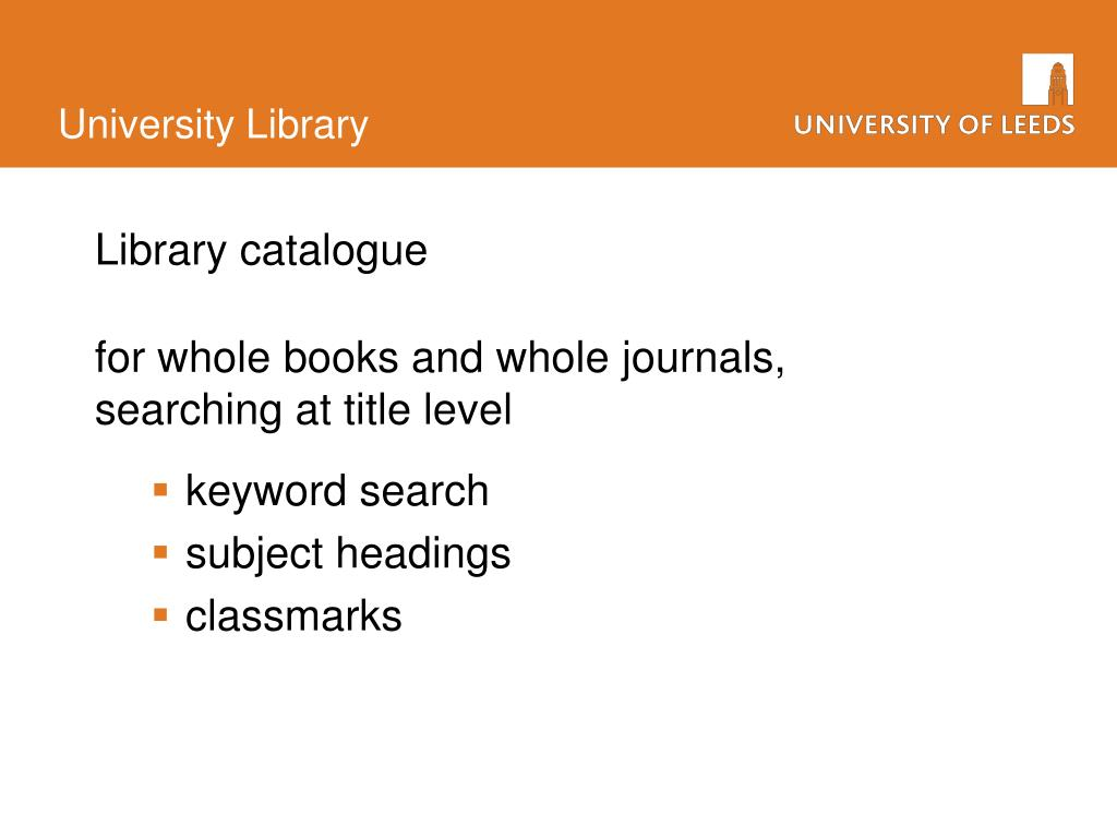 Library catalogue