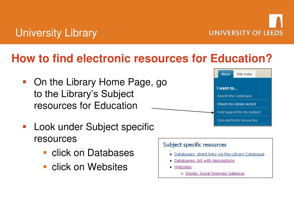 On the Library Home Page, go to the Library's Subject resources for Education