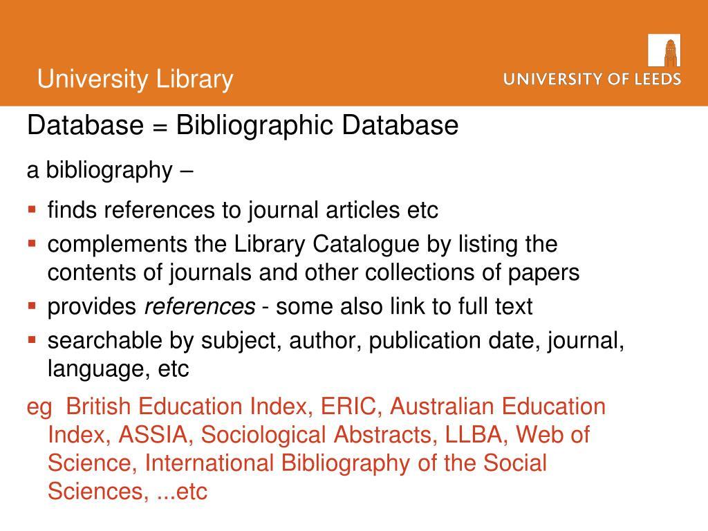 Database = Bibliographic Database