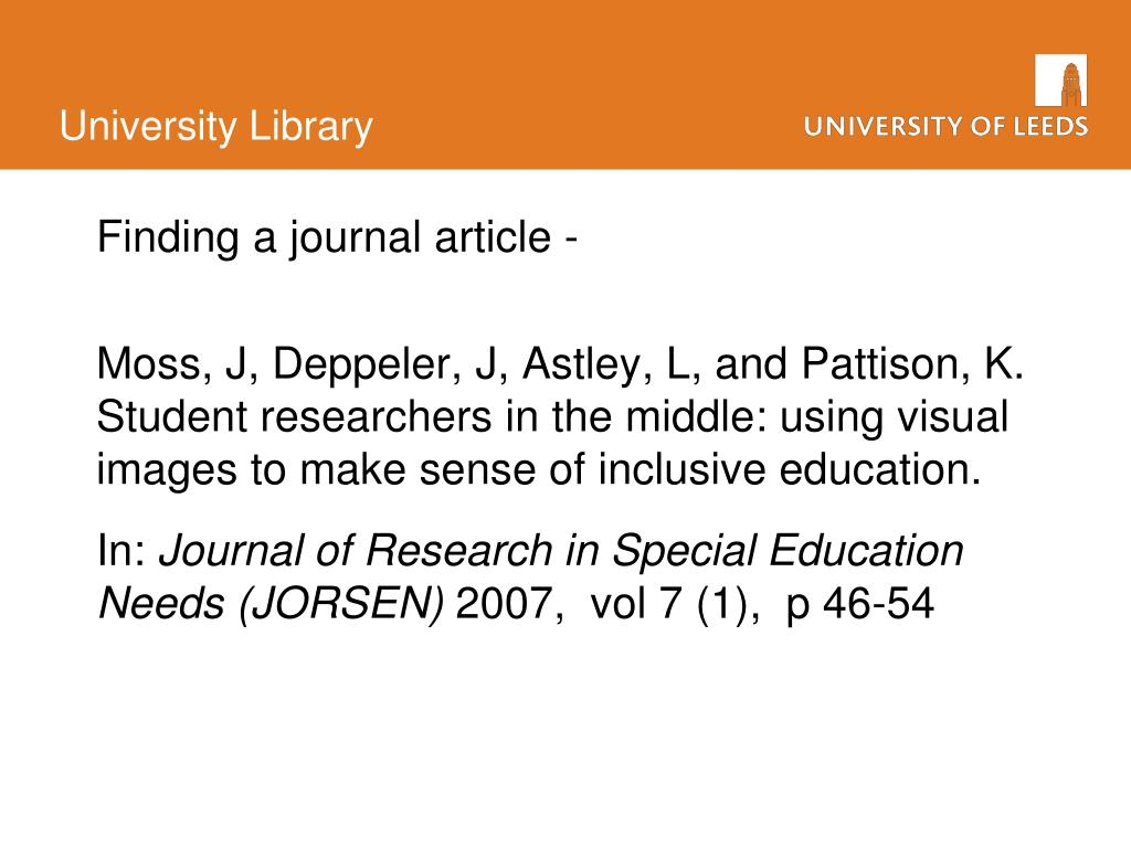 Finding a journal article -