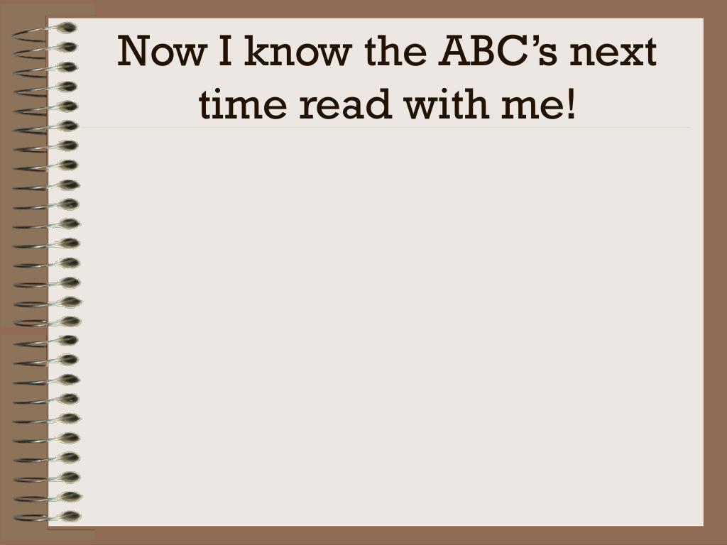 Now I know the ABC's next time read with me!