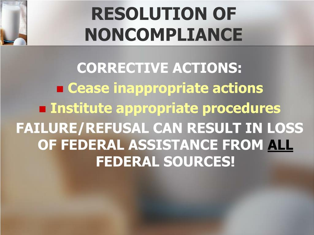 RESOLUTION OF NONCOMPLIANCE