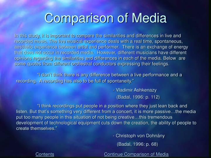 Comparison of Media