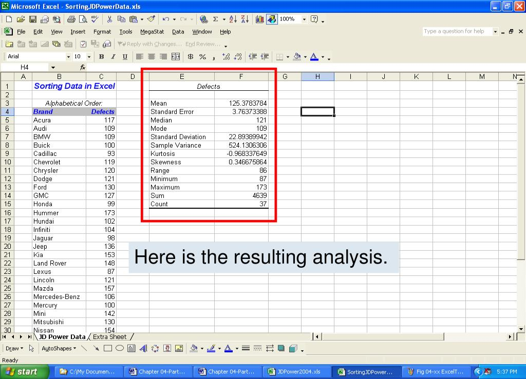 Here is the resulting analysis.