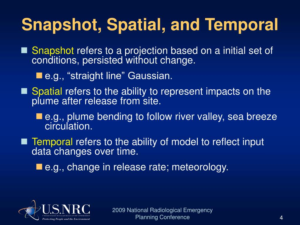 Snapshot, Spatial, and Temporal