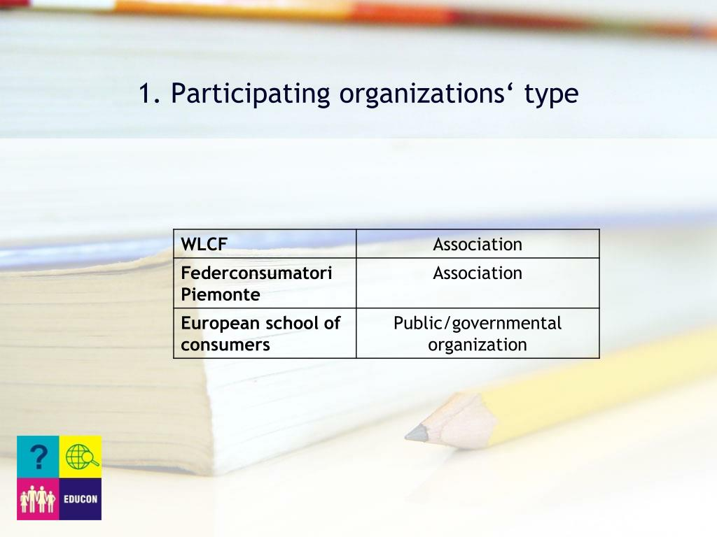 1. Participating organizations' type