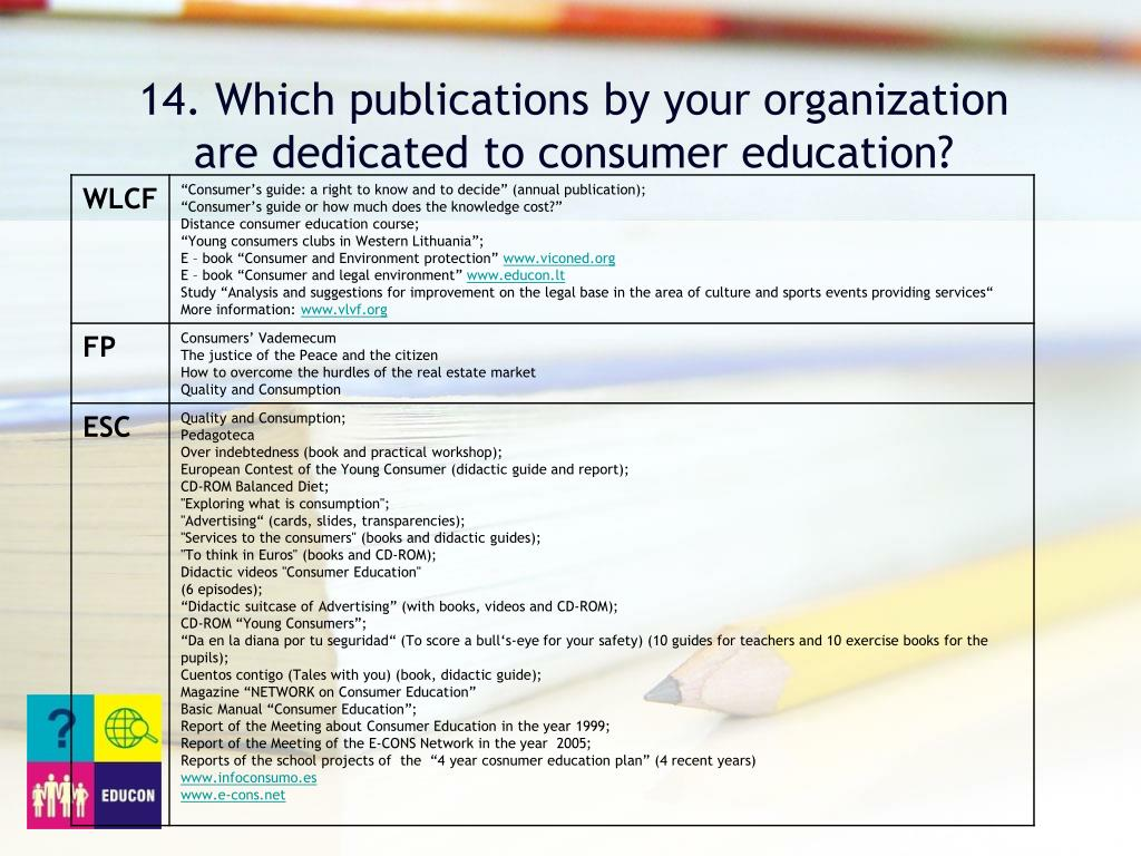 14. Which publications by your organization are dedicated to consumer education?