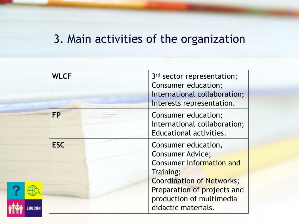 3. Main activities of the organization