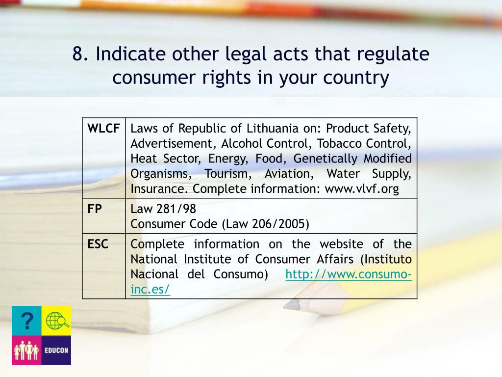 8. Indicate other legal acts that regulate consumer rights in your country