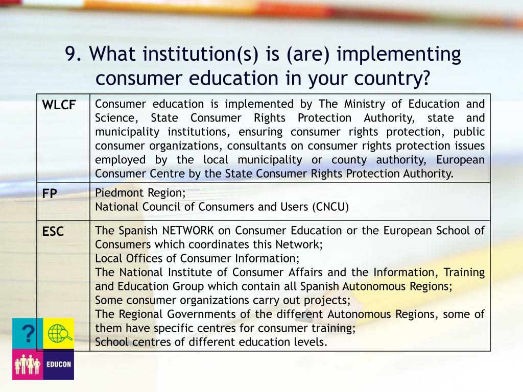 9. What institution(s) is (are) implementing consumer education in your country?