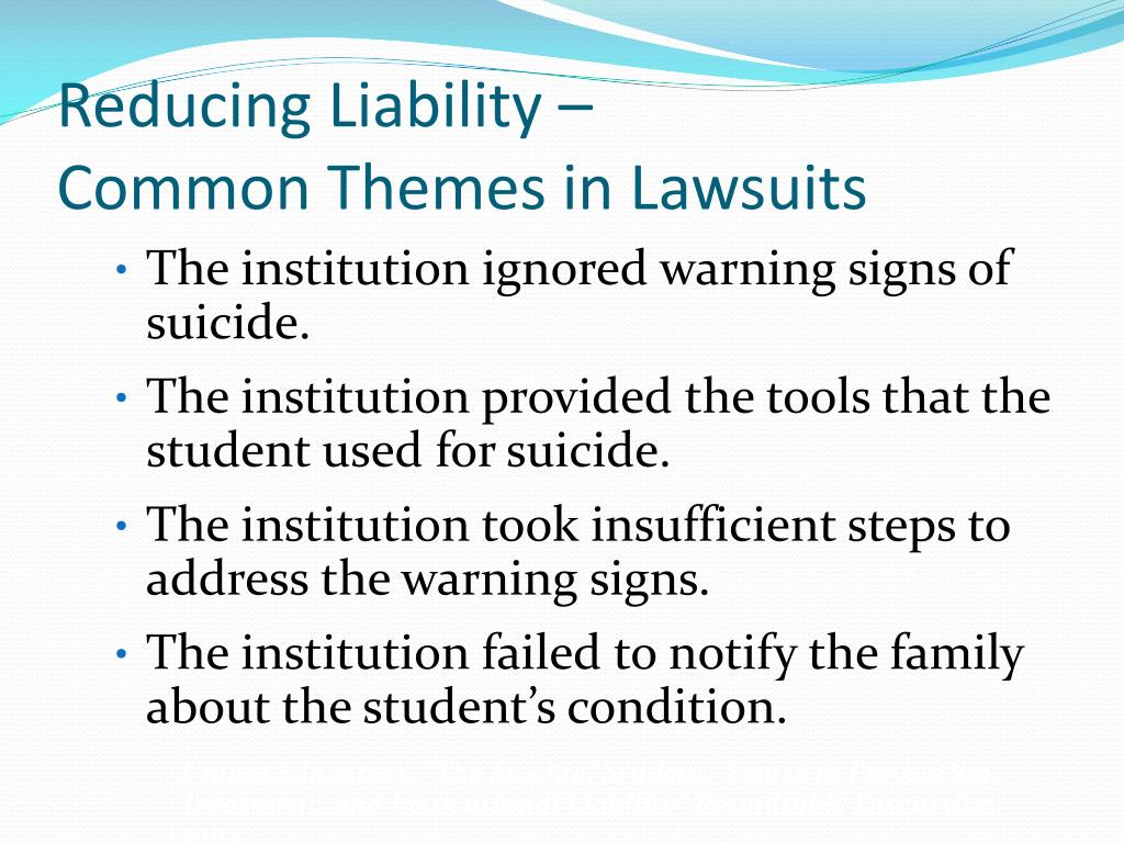 Reducing Liability –