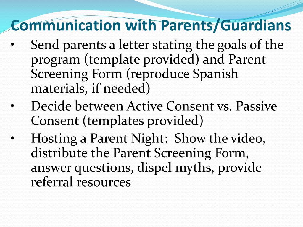 Communication with Parents/Guardians