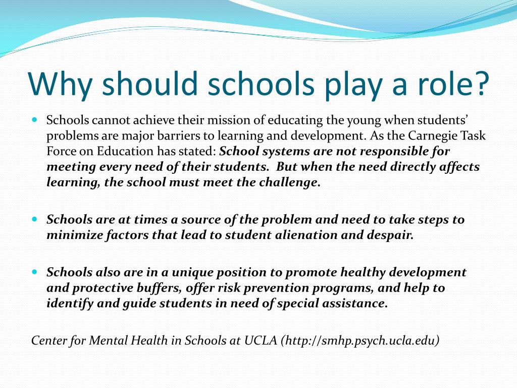 Why should schools play a role?