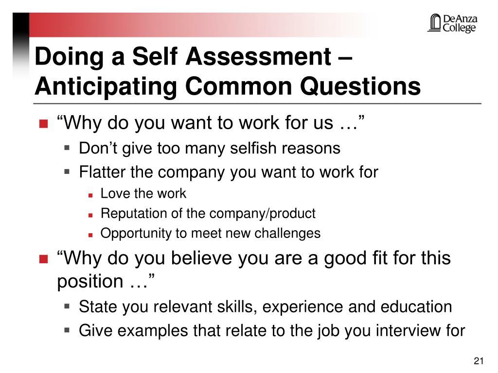 Doing a Self Assessment –