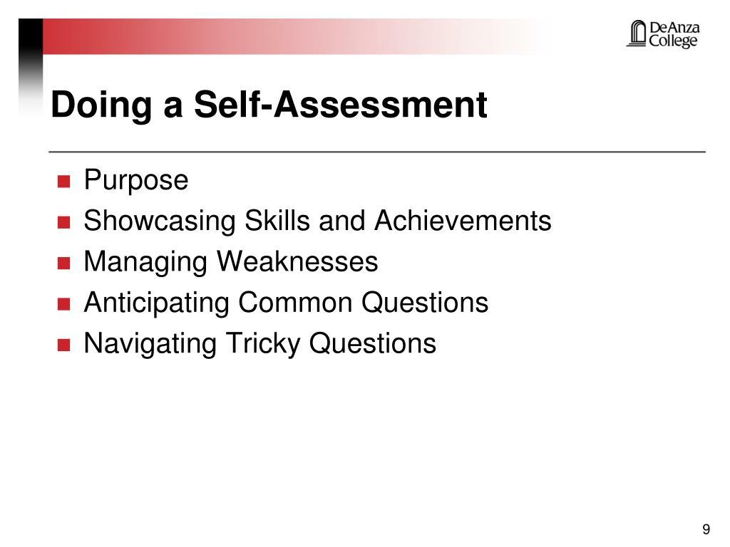 Doing a Self-Assessment