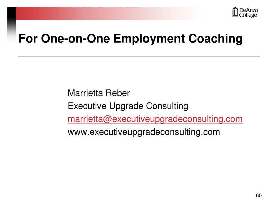For One-on-One Employment Coaching