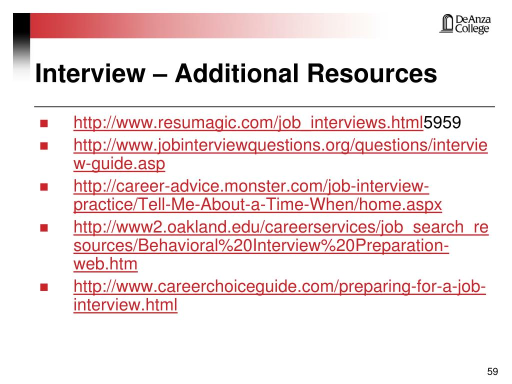 Interview – Additional Resources