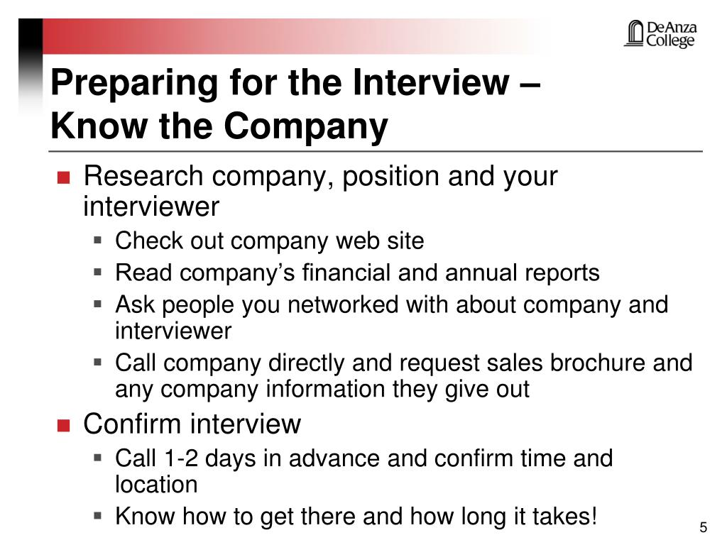 Preparing for the Interview –