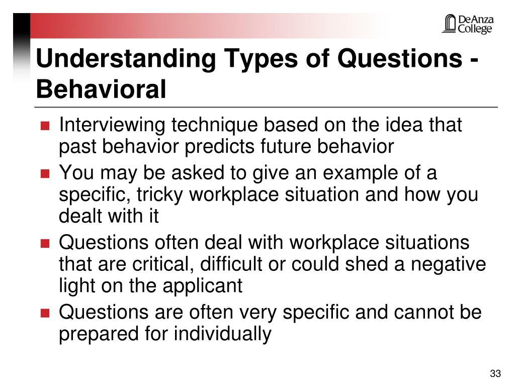 Understanding Types of Questions - Behavioral