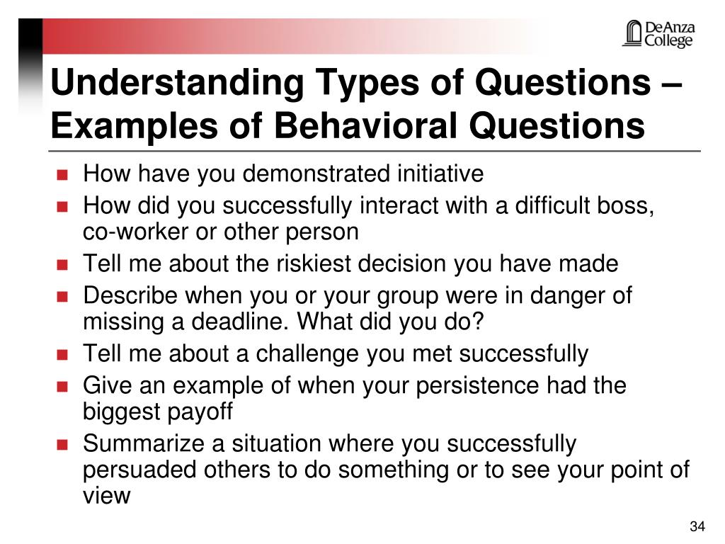 Understanding Types of Questions –
