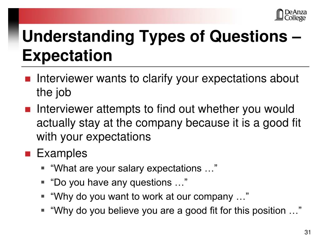 Understanding Types of Questions – Expectation
