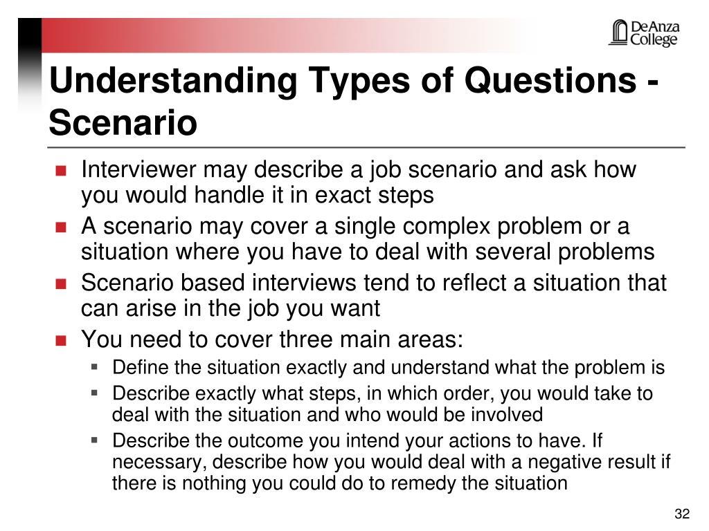Understanding Types of Questions - Scenario