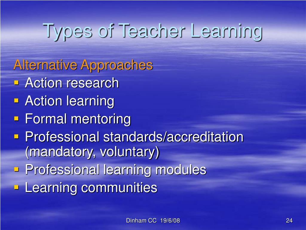Types of Teacher Learning