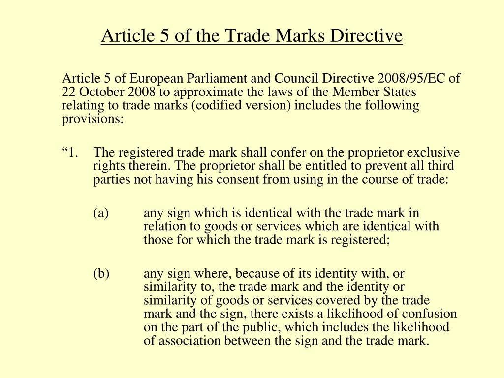 Article 5 of the Trade Marks Directive
