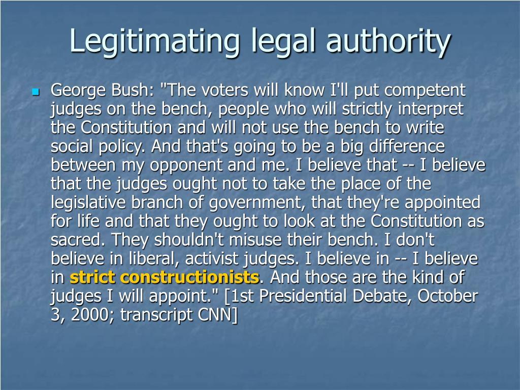 Legitimating legal authority