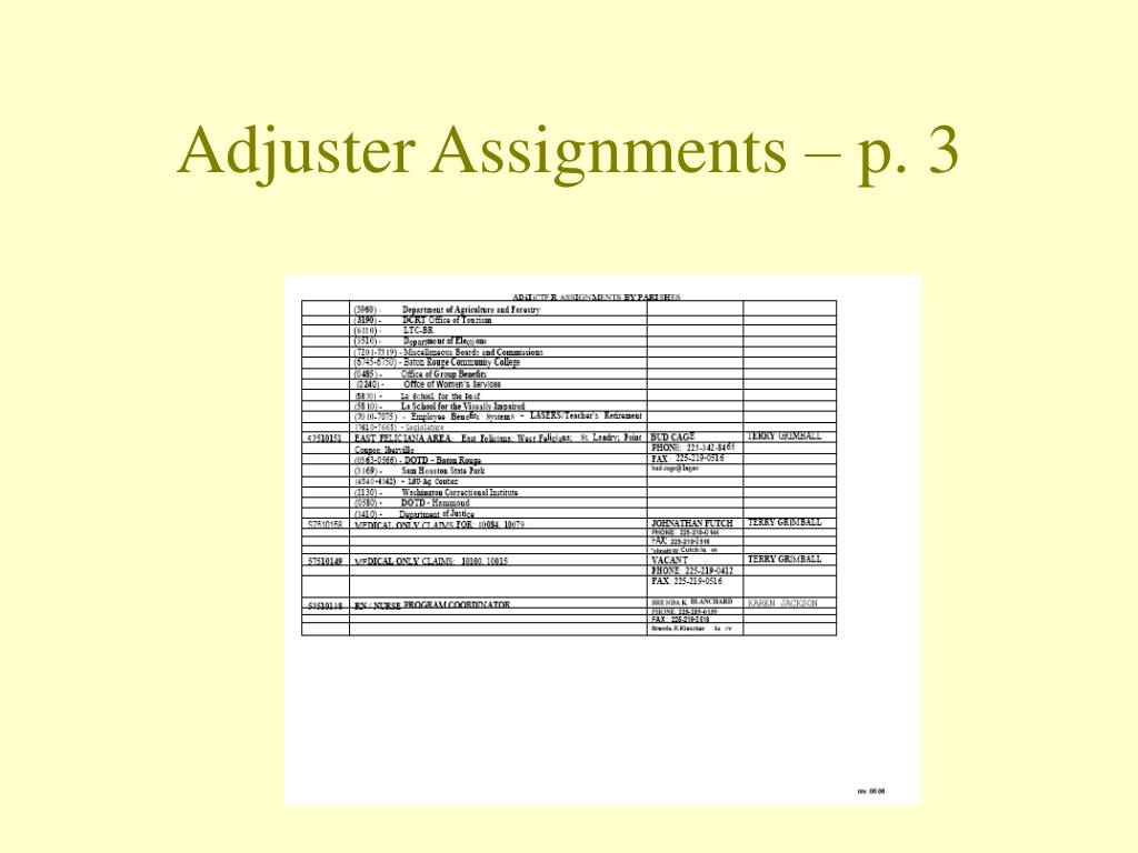 Adjuster Assignments – p. 3