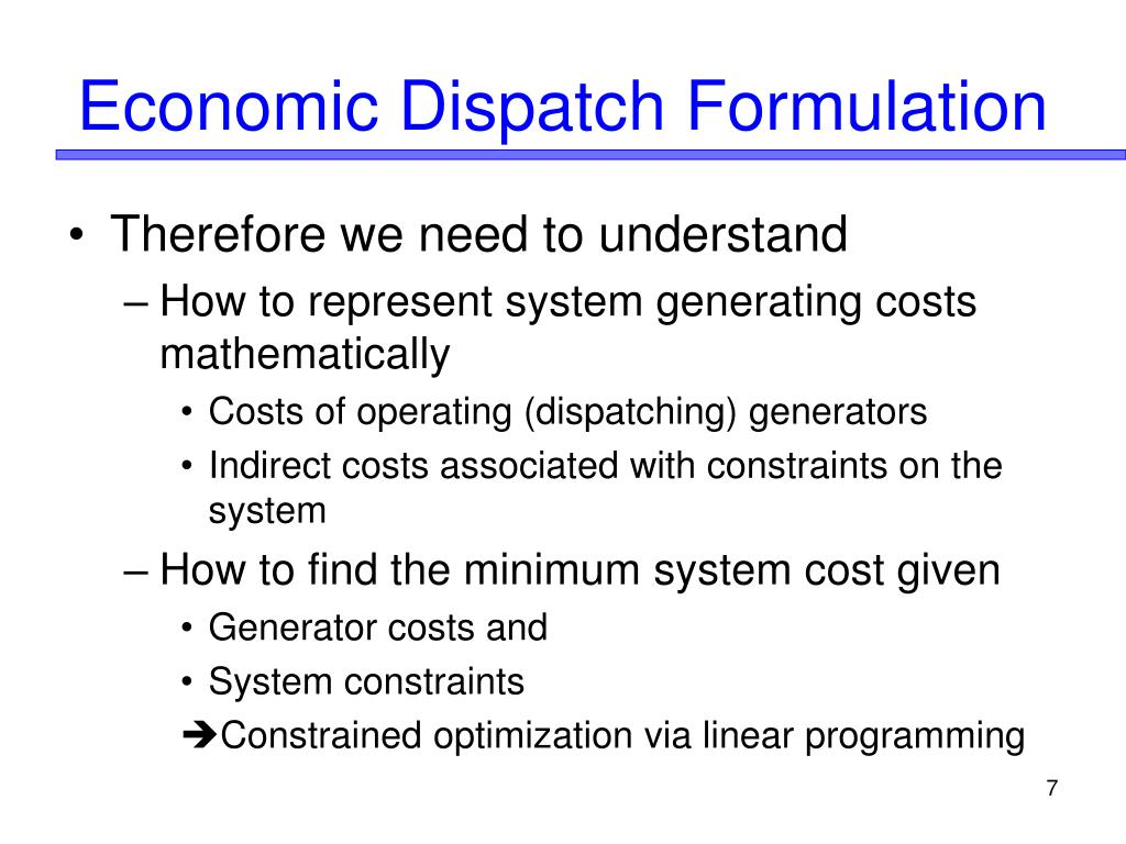 Economic Dispatch Formulation