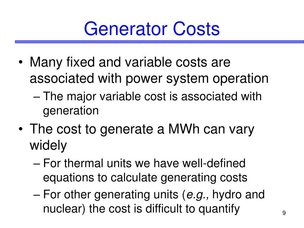 Generator Costs