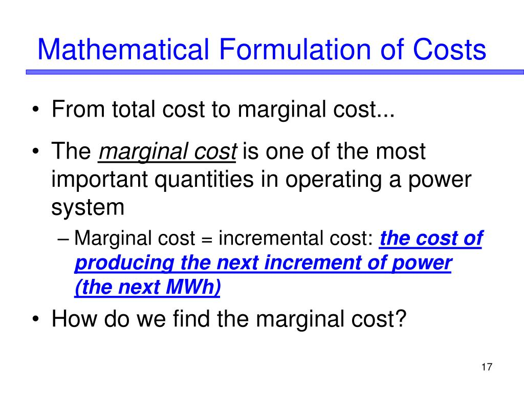 Mathematical Formulation of Costs