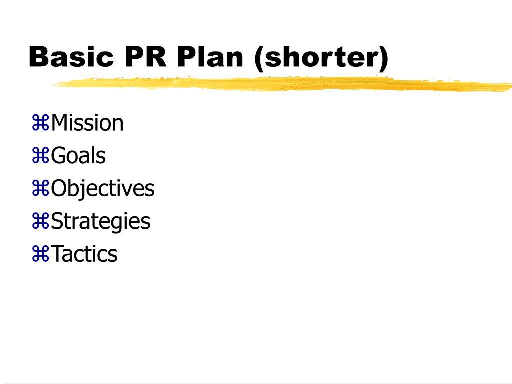 Basic PR Plan (shorter)